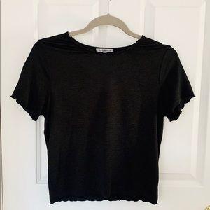Black Scallop Edge T-Shirt